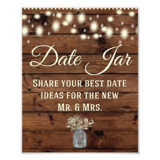 Date Jar, Wedding Sign, Wedding Decor, Rustic Photo Print
