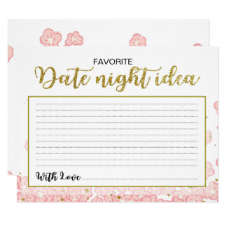 Date Night Ideas | Pink and Gold Glitter Floral Card