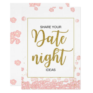 Date Night Ideas Sign | Pink and Gold Bridal Showe Card