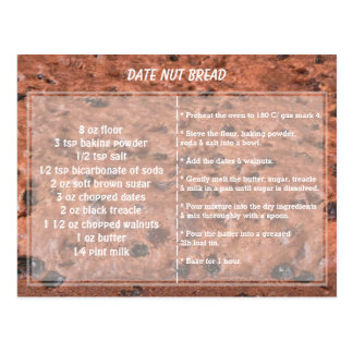 Date Nut Bread Recipe Postcard