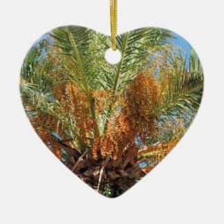 Date palm ceramic heart ornament