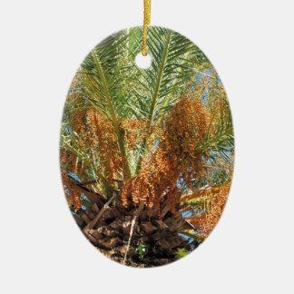 Date palm ceramic oval ornament