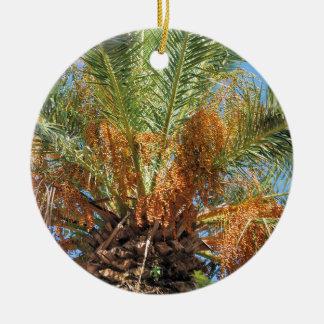 Date palm round ceramic ornament