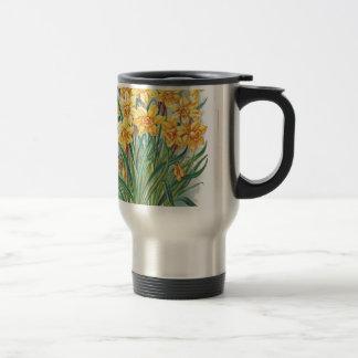 date rsvp  flowers daffodil yellow vintage mug