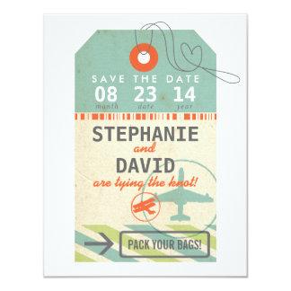 Date vintage d'économies de mariage de destination carton d'invitation 10,79 cm x 13,97 cm