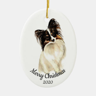 Dated Christmas Custom Watercolor Papillon Dog Ceramic Ornament