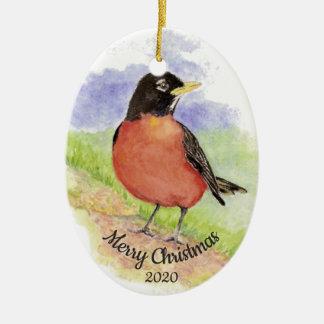 Dated Christmas Custom Watercolor Robin Bird Ceramic Ornament