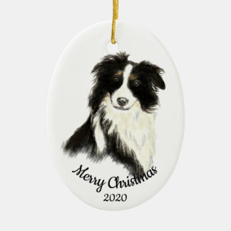 Dated Christmas Watercolor Border Collie Dog Ceramic Ornament