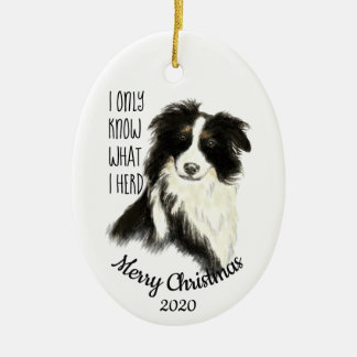 Dated Christmas Watercolor Border Collie Dog Quote Ceramic Ornament