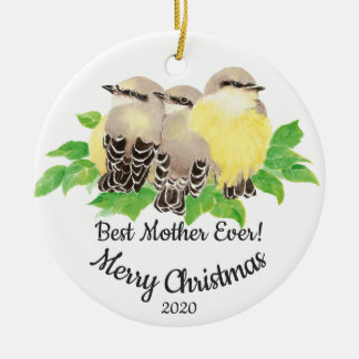 Dated Custom Watercolor Mother Quote Birds Ceramic Ornament