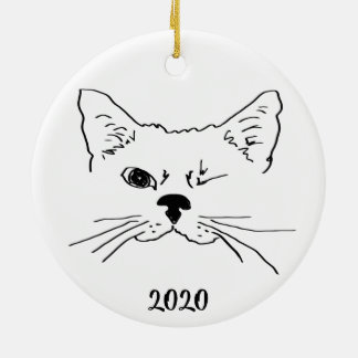 Dated Cute Smiling Winking Cat Drawing Ceramic Ornament