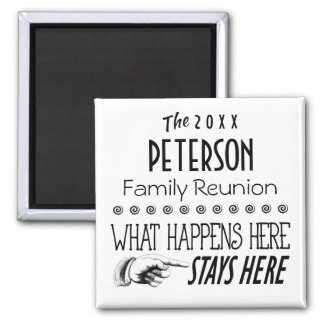 DATED FAMILY REUNION WHAT HAPPENS STAYS HERE SQ SQUARE MAGNET