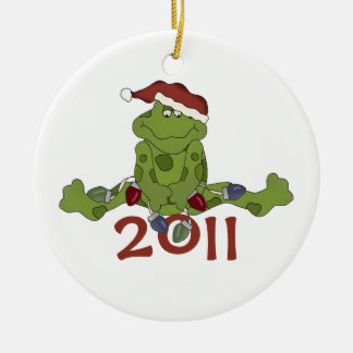 Dated  Frog Christmas Ornament