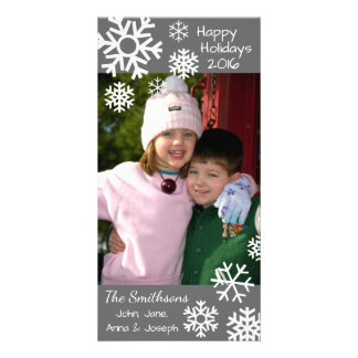 Dated Multiple Snowflakes Christmas (Gray) Customized Photo Card