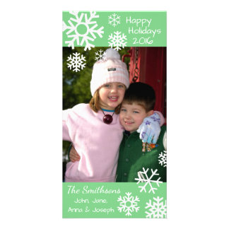 Dated Multiple Snowflakes Christmas (Mint Green) Photo Greeting Card