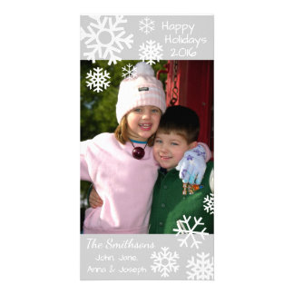 Dated Multiple Snowflakes Christmas (Silver) Personalized Photo Card