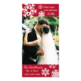Dated Multiple Snowflakes Married Christmas (Red) Customized Photo Card