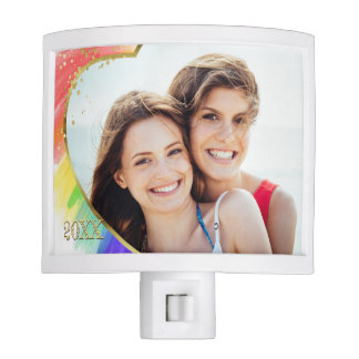 Dated Watercolor Rainbow & Heart Colorful LGBT Nite Light
