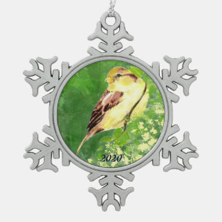 Dated Watercolor Song Sparrow Bird Nature Art Snowflake Pewter Christmas Ornament
