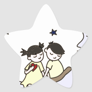 Dating in the moon - Lovers in the Moon Star Sticker