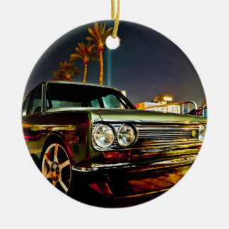 Datsun Bluebird SSS  510 coupe Double-Sided Ceramic Round Christmas Ornament