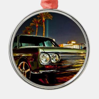Datsun Bluebird SSS  510 coupe Silver-Colored Round Ornament