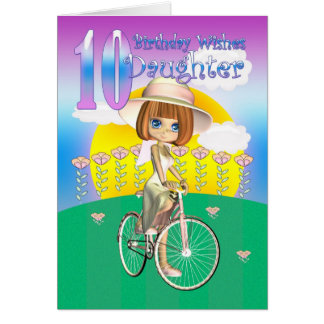 Daughter 10th Birthday Card with little girl on bi