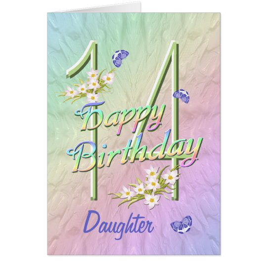 Daughter 14th Birthday Butterfly Garden Card
