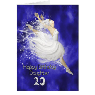 Daughter age 20, leaping ballerina birthday card