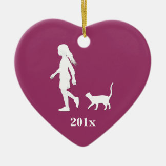 Daughter and Cat: Little Girl and her Kitty Ceramic Heart Ornament