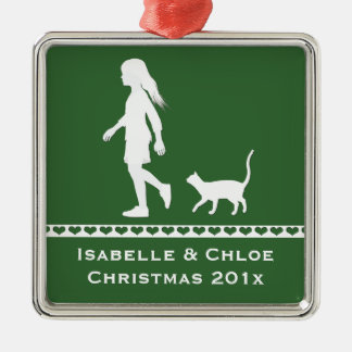 Daughter and Cat: Little Girl and her Kitty Silver-Colored Square Ornament