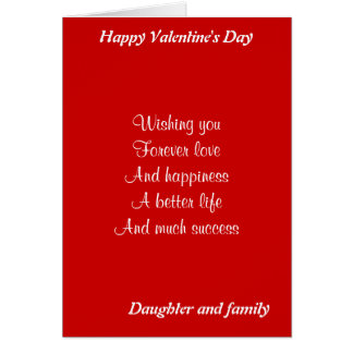 Daughter and family valentine's day card