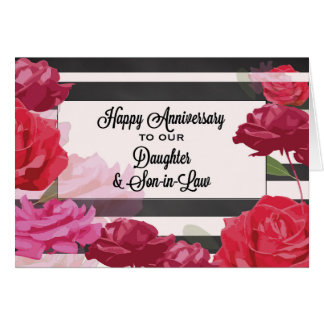 Daughter and Son-in-Law Wedding Anniversary Roses Greeting Card