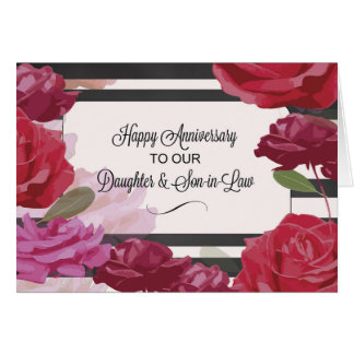 Daughter and Son-in-Law Wedding Anniversary Roses, Greeting Card