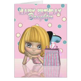 Daughter Birthday Card With Cute Little Girl And G