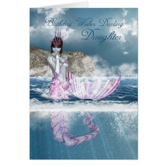 Daughter Birthday Fantasy Mermaid With Ocean View Card