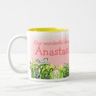 Daughter custom name dark hair girl spring mug
