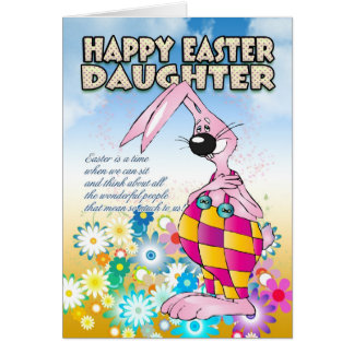 Daughter Easter Card - Easter Bunny Flowers