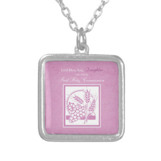 Daughter First Communion, Pink Silver Plated Necklace