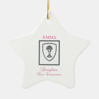 Daughter, First Communion Silver Chalice Ceramic Ornament