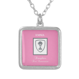 Daughter, First Communion Silver Chalice Silver Plated Necklace