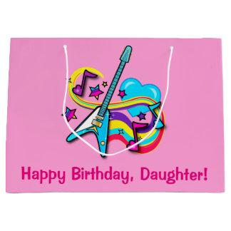 Daughter Guitar, Rainbow, Hearts Happy Birthday Large Gift Bag