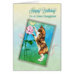 Daughter, Happy Birthday with a playful cat Greeting Card