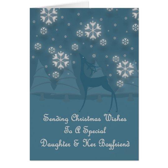 Daughter & Her Boyfriend Reindeer Christmas Card