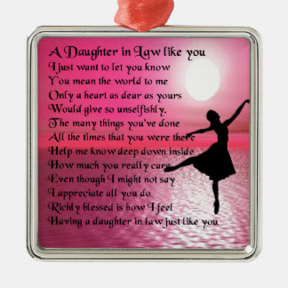 Daughter in Law Poem - Ballerina Silver-Colored Square Ornament