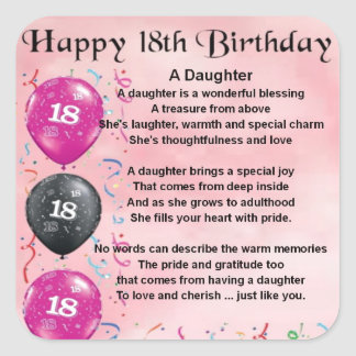 Daughter Poem - 18th Birthday Square Sticker