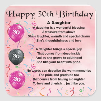 Daughter Poem  30th Birthday Stickers