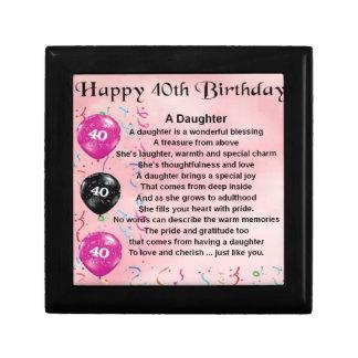 Daughter Poem  40th Birthday Gift Box