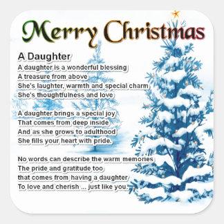 Daughter Poem - Christmas Design Stickers