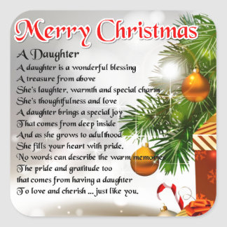 Daughter Poem - Christmas Image Square Stickers